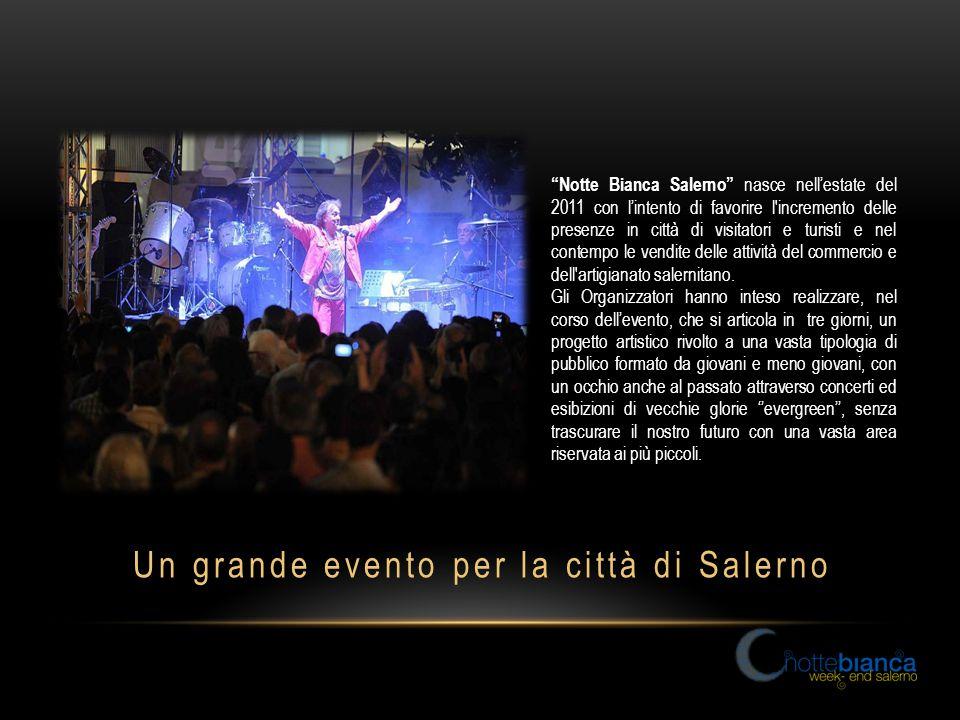 Notte Bianca Salerno nasce nell'estate del 2011 con l'intento di favorire l incremento delle presenze in città di visitatori e turisti e nel contempo le vendite delle attività del commercio e dell artigianato salernitano.