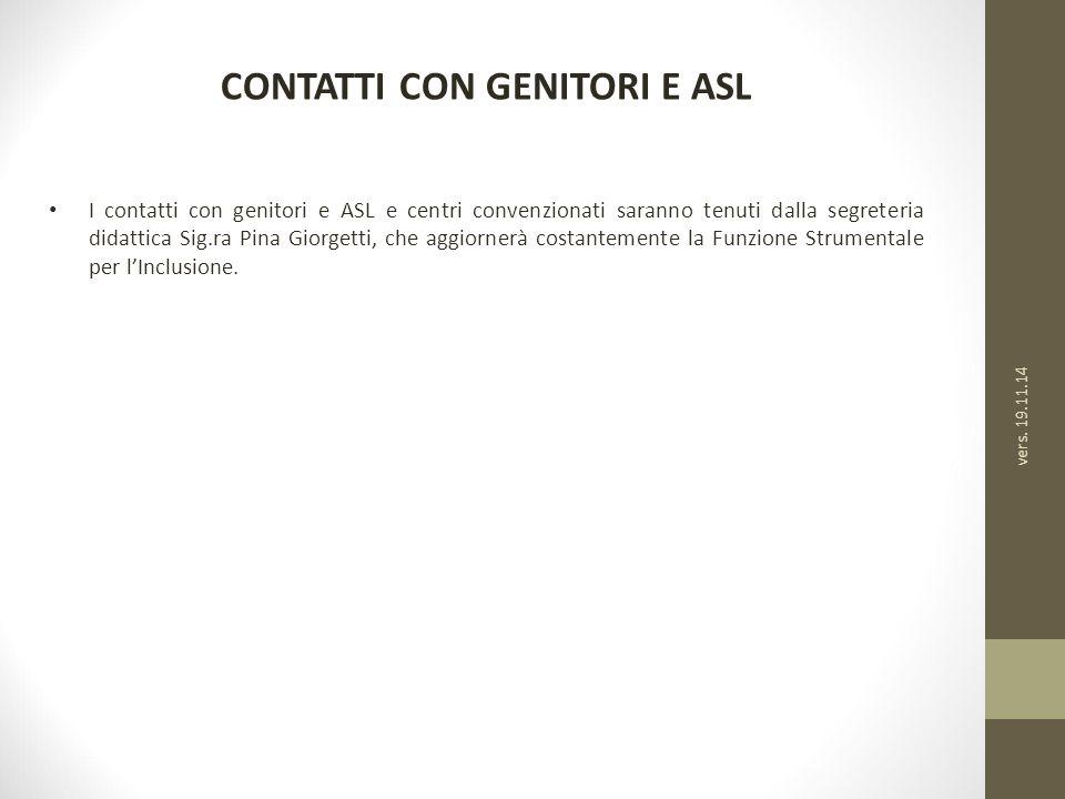 CONTATTI CON GENITORI E ASL I contatti con genitori e ASL e centri convenzionati saranno tenuti dalla segreteria didattica Sig.ra Pina Giorgetti, che