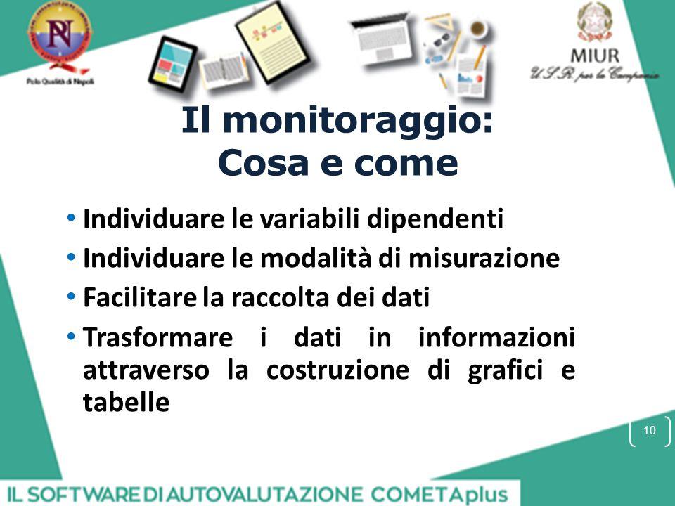 Il monitoraggio: Cosa e come Individuare le variabili dipendenti Individuare le modalità di misurazione Facilitare la raccolta dei dati Trasformare i dati in informazioni attraverso la costruzione di grafici e tabelle 10