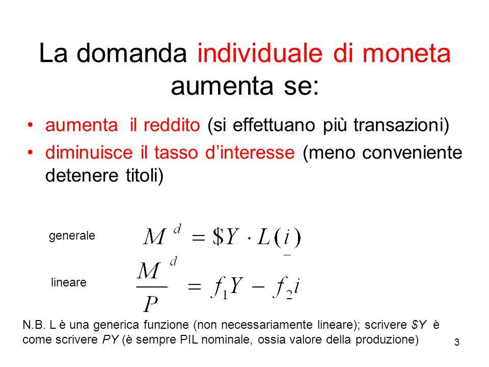 3 La domanda individuale di moneta aumenta se: aumenta il reddito (si effettuano più transazioni) diminuisce il tasso d'interesse (meno conveniente detenere titoli) N.B.