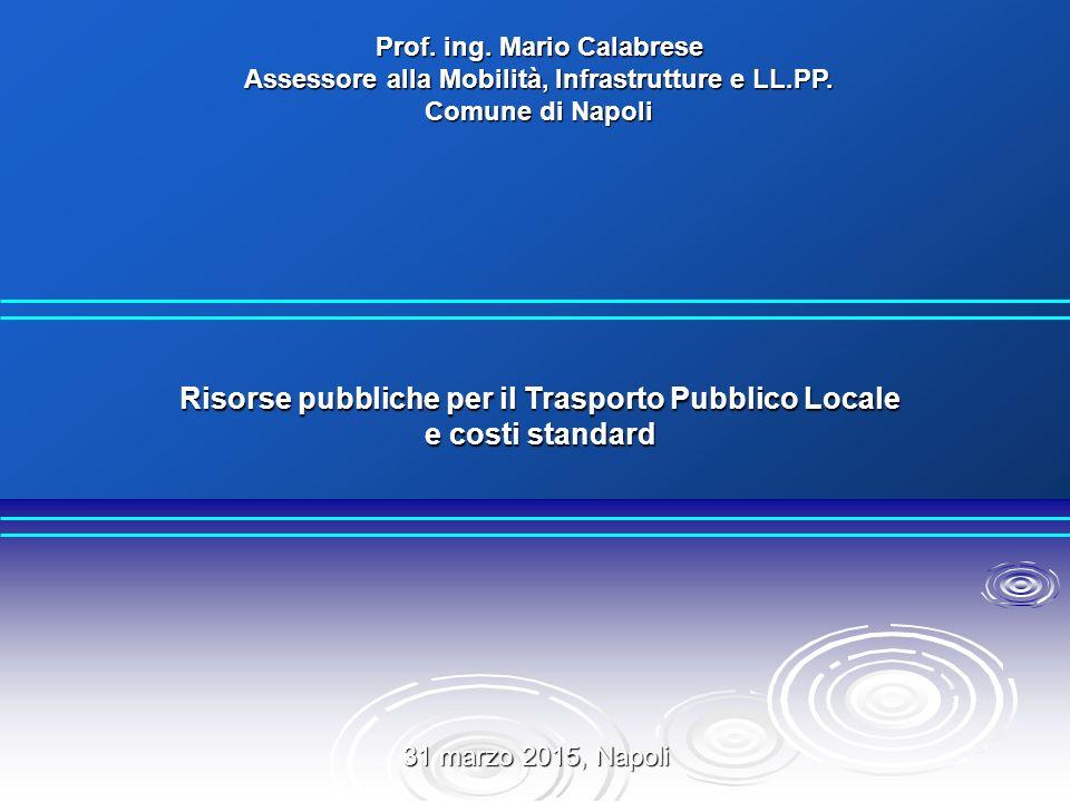 31 marzo 2015, Napoli Prof. ing. Mario Calabrese Assessore alla Mobilità, Infrastrutture e LL.PP. Comune di Napoli Risorse pubbliche per il Trasporto