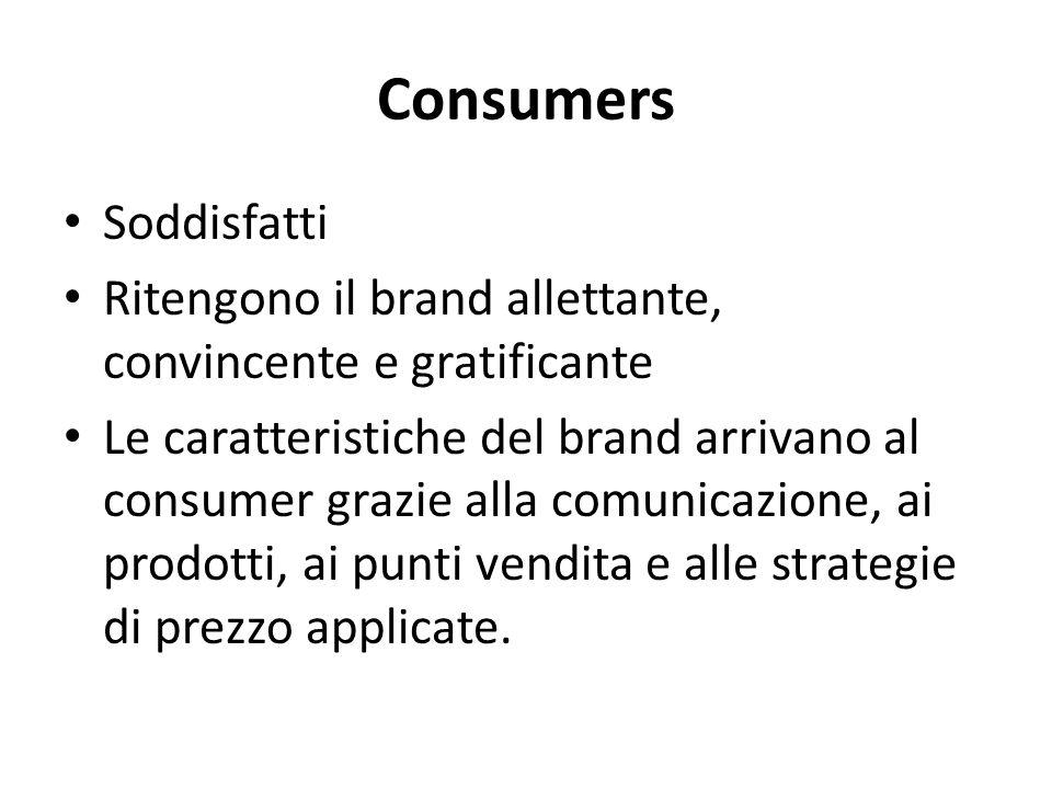Consumers Soddisfatti Ritengono il brand allettante, convincente e gratificante Le caratteristiche del brand arrivano al consumer grazie alla comunica