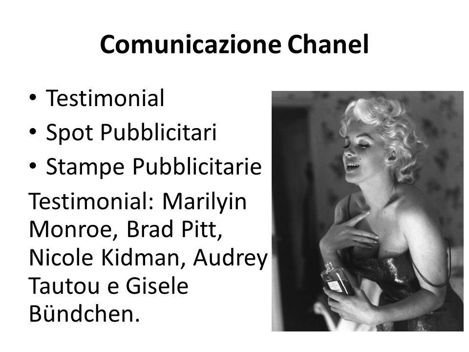 Comunicazione Chanel Testimonial Spot Pubblicitari Stampe Pubblicitarie Testimonial: Marilyin Monroe, Brad Pitt, Nicole Kidman, Audrey Tautou e Gisele