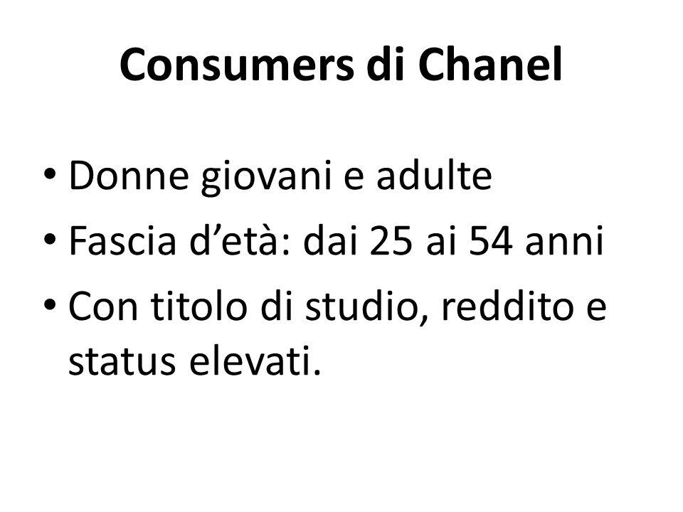 Consumers di Chanel Donne giovani e adulte Fascia d'età: dai 25 ai 54 anni Con titolo di studio, reddito e status elevati.