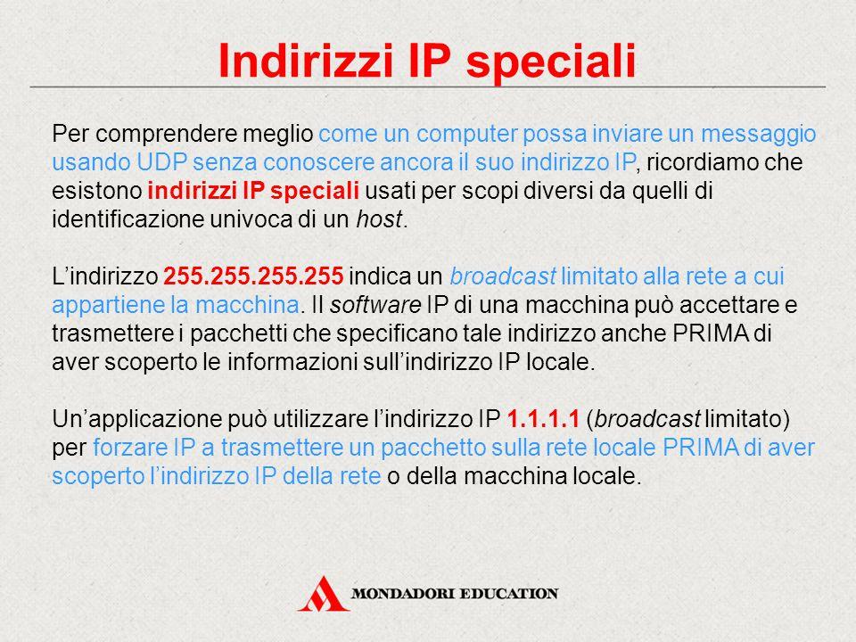 Indirizzi IP speciali Per comprendere meglio come un computer possa inviare un messaggio usando UDP senza conoscere ancora il suo indirizzo IP, ricord