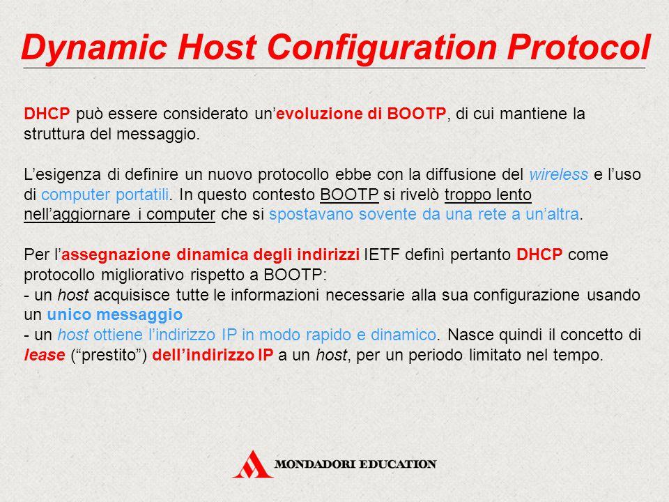 Dynamic Host Configuration Protocol DHCP può essere considerato un'evoluzione di BOOTP, di cui mantiene la struttura del messaggio. L'esigenza di defi