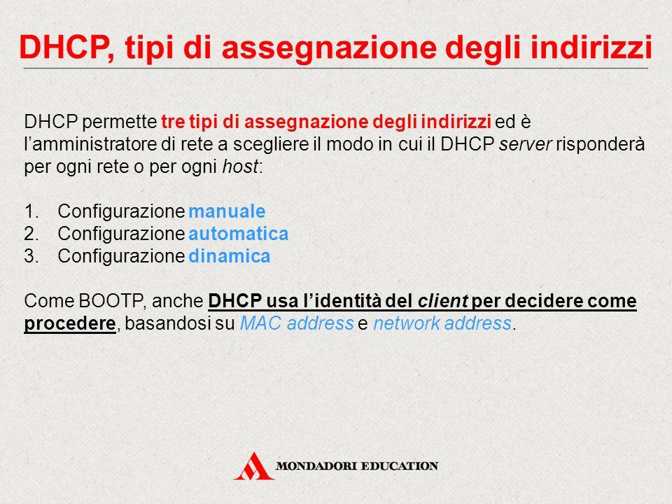 DHCP, tipi di assegnazione degli indirizzi DHCP permette tre tipi di assegnazione degli indirizzi ed è l'amministratore di rete a scegliere il modo in