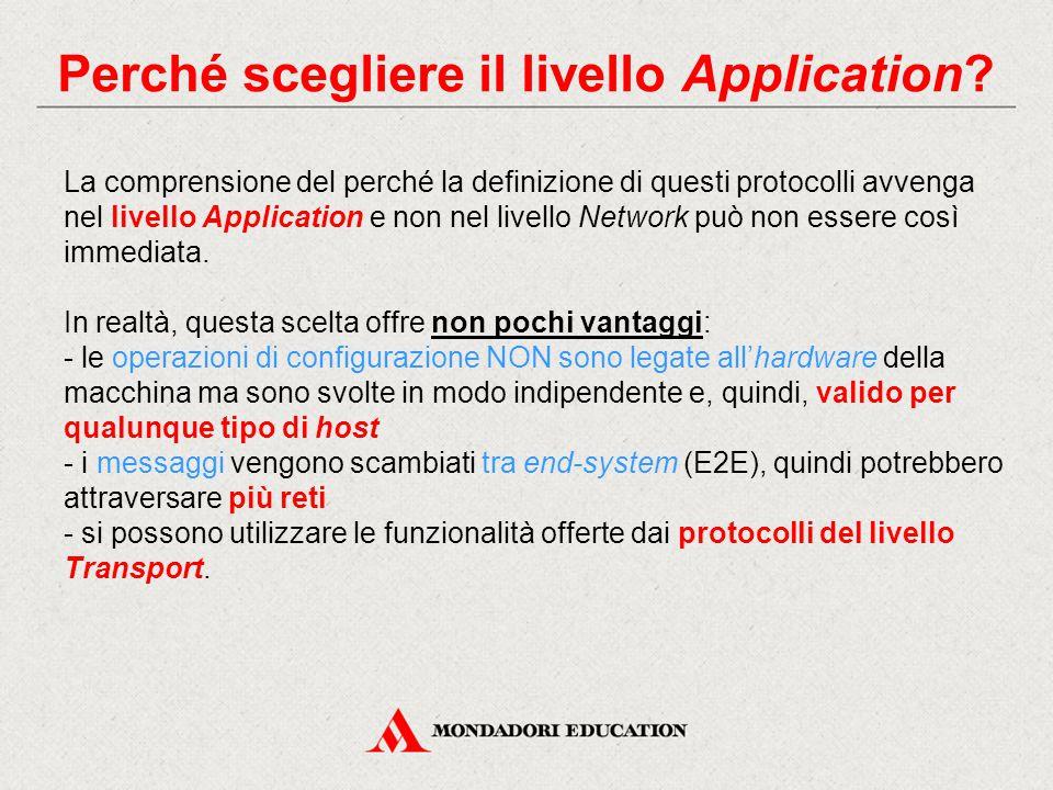 Perché scegliere il livello Application? La comprensione del perché la definizione di questi protocolli avvenga nel livello Application e non nel live
