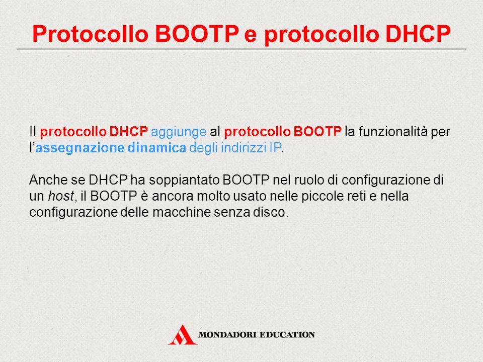Caratteristiche protocollo BOOTP Il protocollo BOOTP è standard dal 1985 e presentò, fin da subito, alcune caratteristiche che lo resero preferibile al protocollo RARP: - utilizzo protocollo di trasporto UDP e indipendenza dall'hardware - invio, in un unico messaggio, dell'indirizzo IP e di altre informazioni per la configurazione - gestione dell'internetworking.