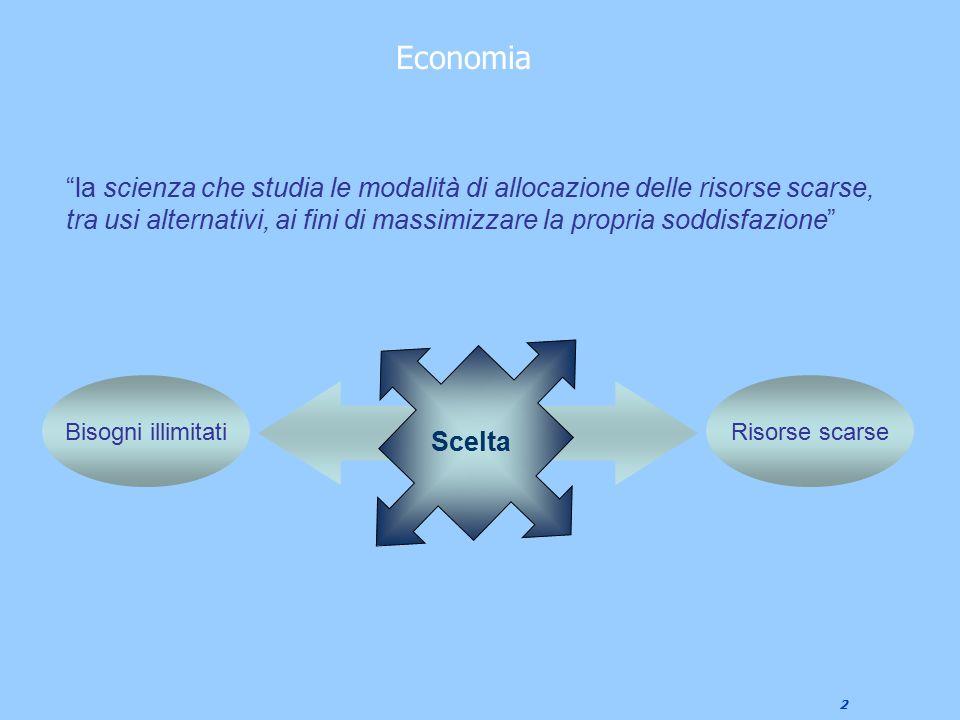 """2 Economia """"la scienza che studia le modalità di allocazione delle risorse scarse, tra usi alternativi, ai fini di massimizzare la propria soddisfazio"""