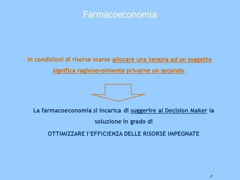3 Farmacoeconomia La farmacoeconomia si incarica di suggerire al Decision Maker la soluzione in grado di OTTIMIZZARE l'EFFICIENZA DELLE RISORSE IMPEGN