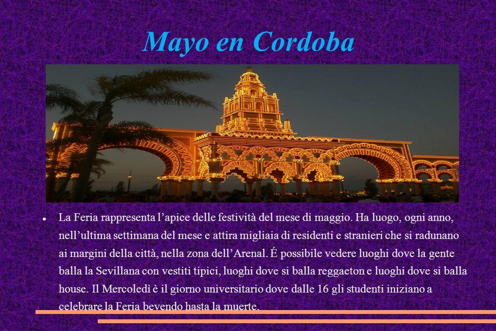 Mayo en Cordoba La Feria rappresenta l'apice delle festività del mese di maggio. Ha luogo, ogni anno, nell'ultima settimana del mese e attira migliaia