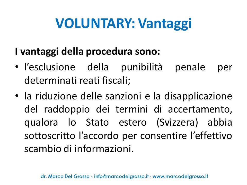VOLUNTARY: Svolgimento della pratica 1.Analisi preliminare della situazione fiscale del contribuente 2.Raccolta e analisi della documentazione (!tempi.