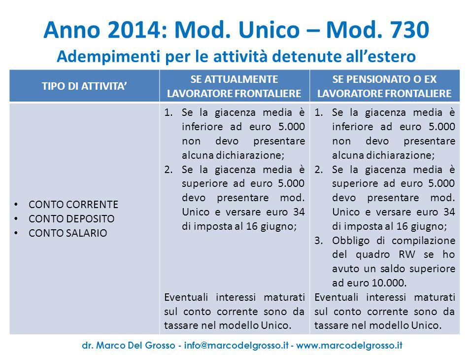 Anno 2014: Mod.Unico – Mod.