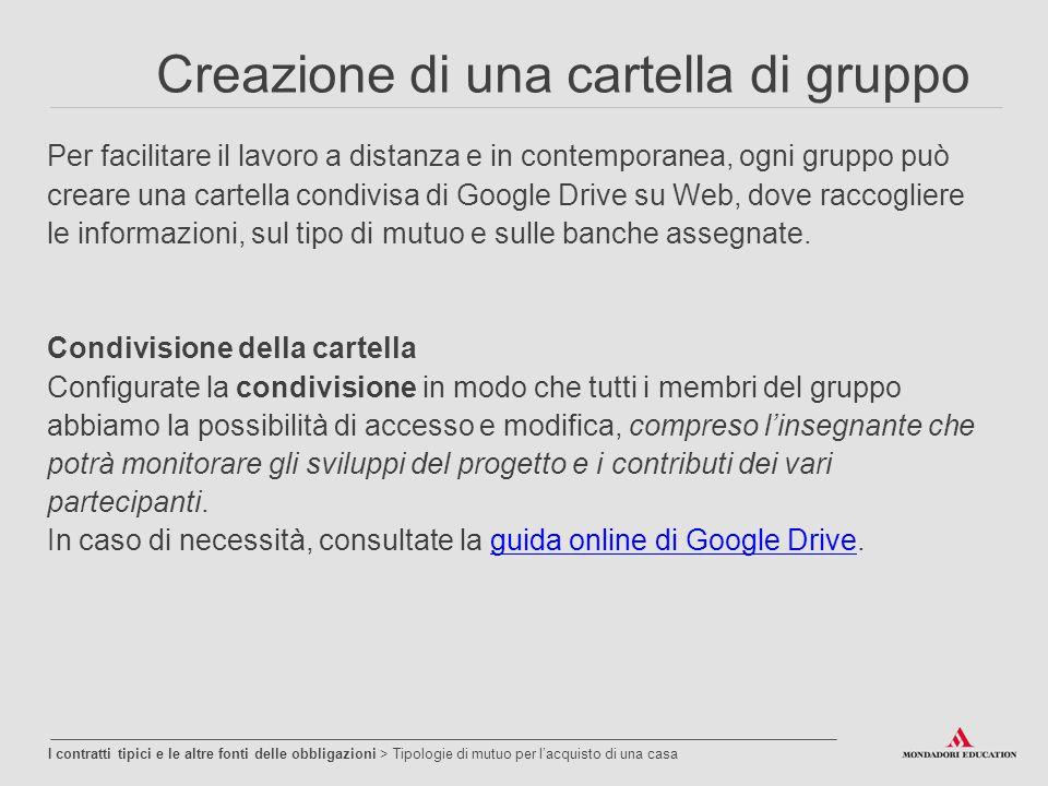 Creazione di una cartella di gruppo Per facilitare il lavoro a distanza e in contemporanea, ogni gruppo può creare una cartella condivisa di Google Drive su Web, dove raccogliere le informazioni, sul tipo di mutuo e sulle banche assegnate.