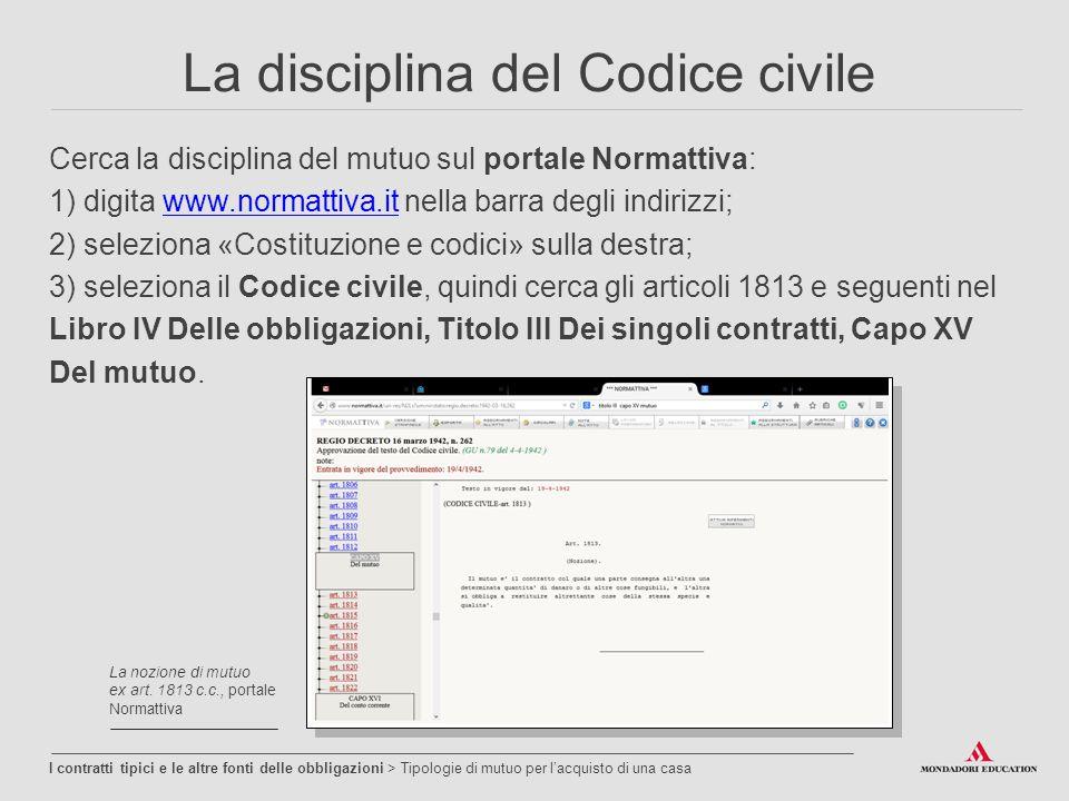 La disciplina del Codice civile Cerca la disciplina del mutuo sul portale Normattiva: 1) digita www.normattiva.it nella barra degli indirizzi;www.norm