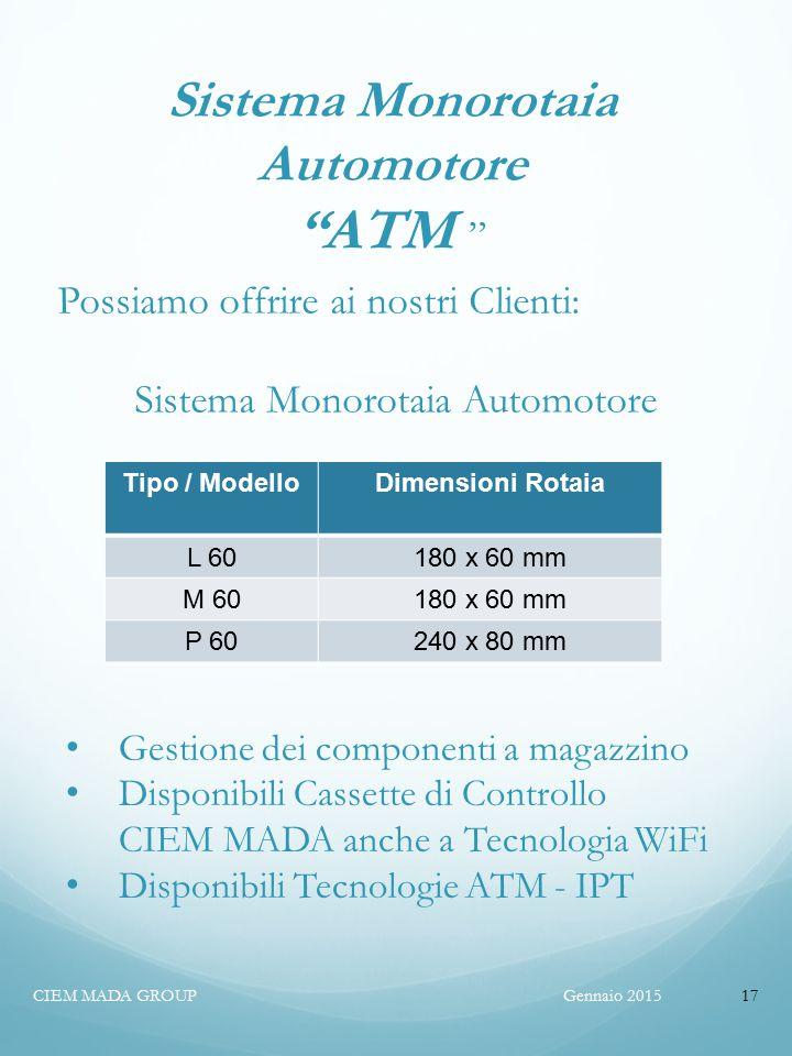 Gennaio 2015CIEM MADA GROUP17 Sistema Monorotaia Automotore ATM Possiamo offrire ai nostri Clienti: Sistema Monorotaia Automotore Tipo / ModelloDimensioni Rotaia L 60180 x 60 mm M 60180 x 60 mm P 60240 x 80 mm Gestione dei componenti a magazzino Disponibili Cassette di Controllo CIEM MADA anche a Tecnologia WiFi Disponibili Tecnologie ATM - IPT