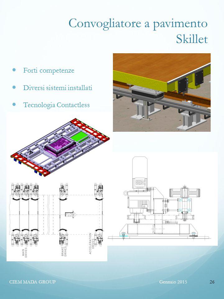 Convogliatore a pavimento Skillet Forti competenze Diversi sistemi installati Tecnologia Contactless Gennaio 2015CIEM MADA GROUP26