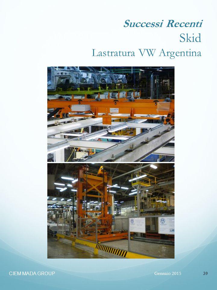 Gennaio 2015 CIEM MADA GROUP 39 Successi Recenti Skid Lastratura VW Argentina