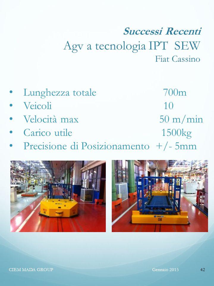 Successi Recenti Agv a tecnologia IPT SEW Fiat Cassino Gennaio 2015CIEM MADA GROUP42 Lunghezza totale 700m Veicoli 10 Velocità max 50 m/min Carico utile 1500kg Precisione di Posizionamento +/- 5mm