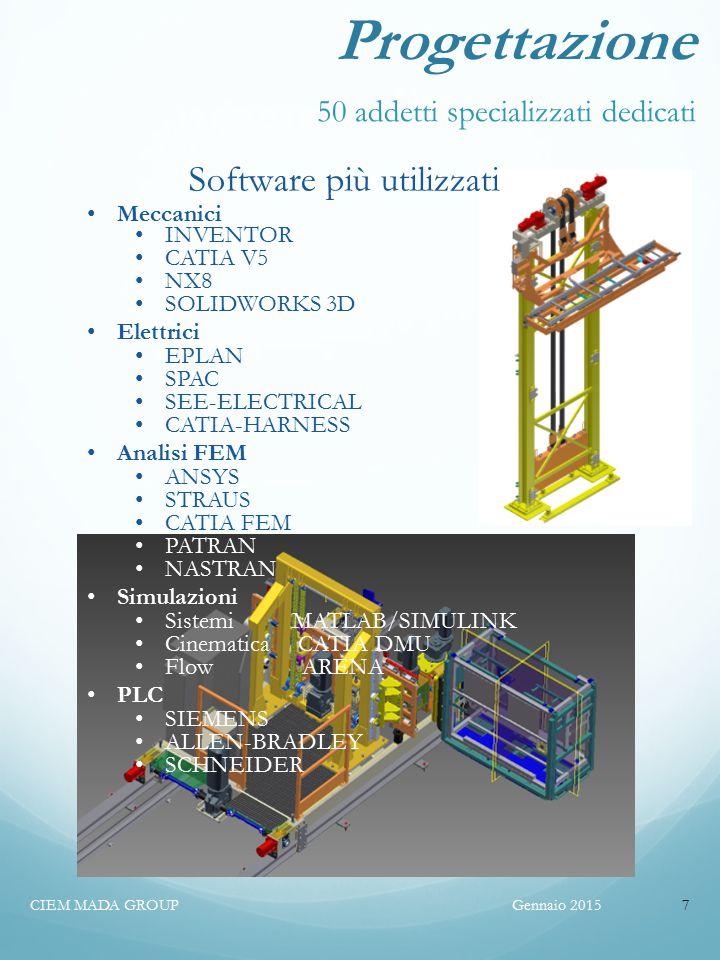 Software più utilizzati Meccanici INVENTOR CATIA V5 NX8 SOLIDWORKS 3D Elettrici EPLAN SPAC SEE-ELECTRICAL CATIA-HARNESS Analisi FEM ANSYS STRAUS CATIA FEM PATRAN NASTRAN Simulazioni Sistemi MATLAB/SIMULINK Cinematica CATIA DMU Flow ARENA PLC SIEMENS ALLEN-BRADLEY SCHNEIDER Progettazione 50 addetti specializzati dedicati Gennaio 2015CIEM MADA GROUP7