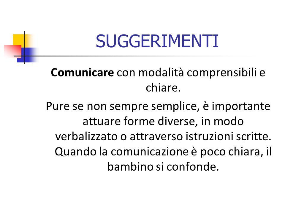 SUGGERIMENTI Comunicare con modalità comprensibili e chiare.