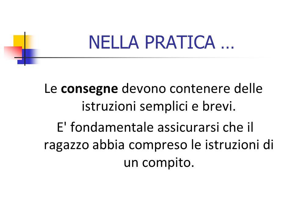 NELLA PRATICA … Le consegne devono contenere delle istruzioni semplici e brevi.
