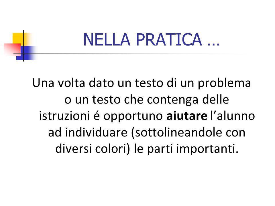 NELLA PRATICA … Una volta dato un testo di un problema o un testo che contenga delle istruzioni é opportuno aiutare l'alunno ad individuare (sottolineandole con diversi colori) le parti importanti.