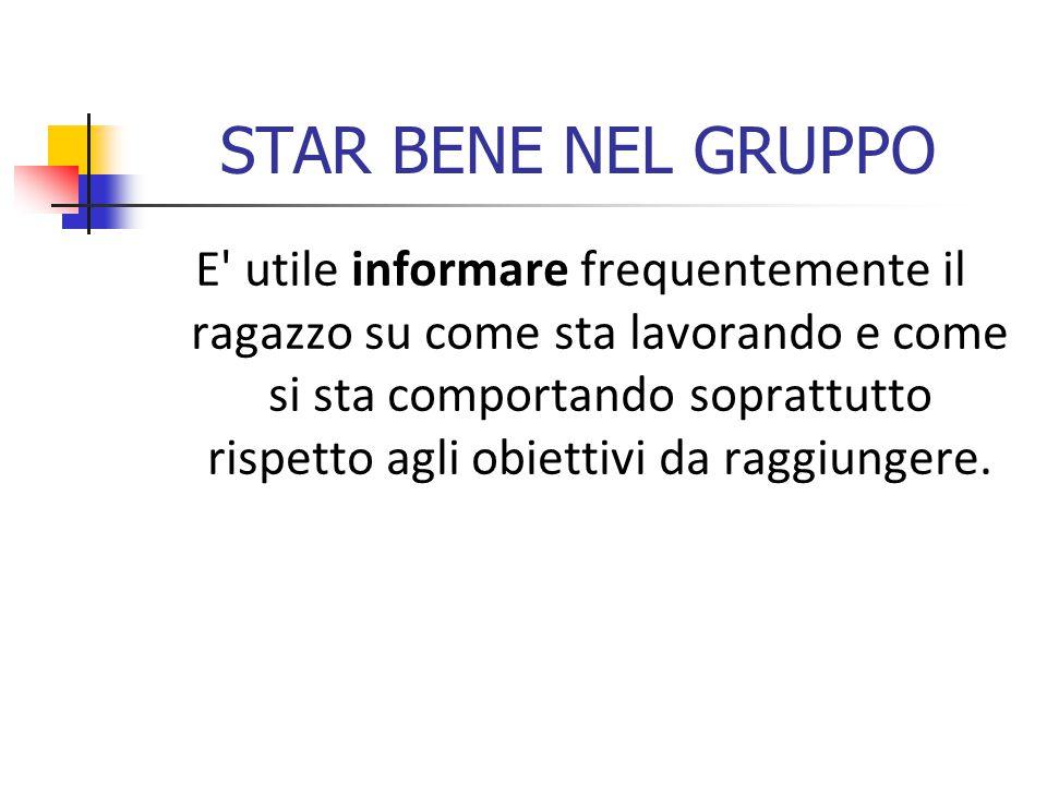 STAR BENE NEL GRUPPO E utile informare frequentemente il ragazzo su come sta lavorando e come si sta comportando soprattutto rispetto agli obiettivi da raggiungere.