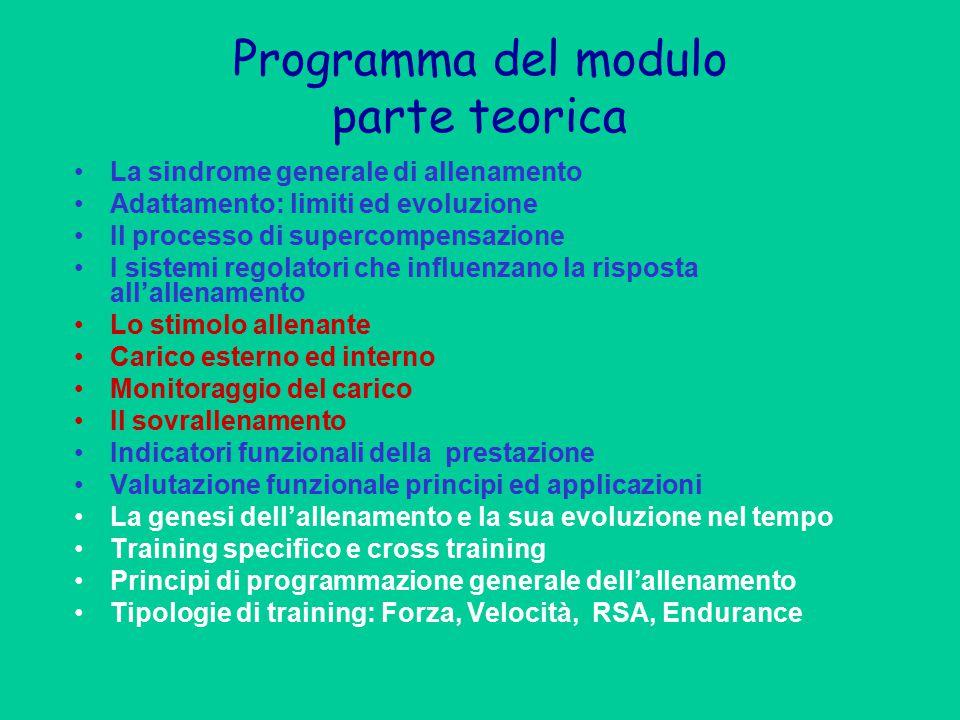 Programma del modulo parte teorica La sindrome generale di allenamento Adattamento: limiti ed evoluzione Il processo di supercompensazione I sistemi r