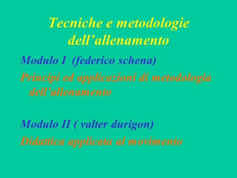 Tecniche e metodologie dell'allenamento Modulo I (federico schena) Principi ed applicazioni di metodologia dell'allenamento Modulo II ( valter durigon