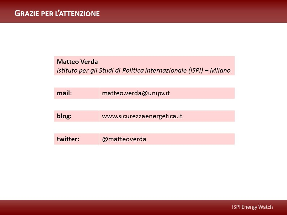 ISPI Energy Watch Matteo Verda Istituto per gli Studi di Politica Internazionale (ISPI) – Milano mail:matteo.verda@unipv.it blog:www.sicurezzaenergeti