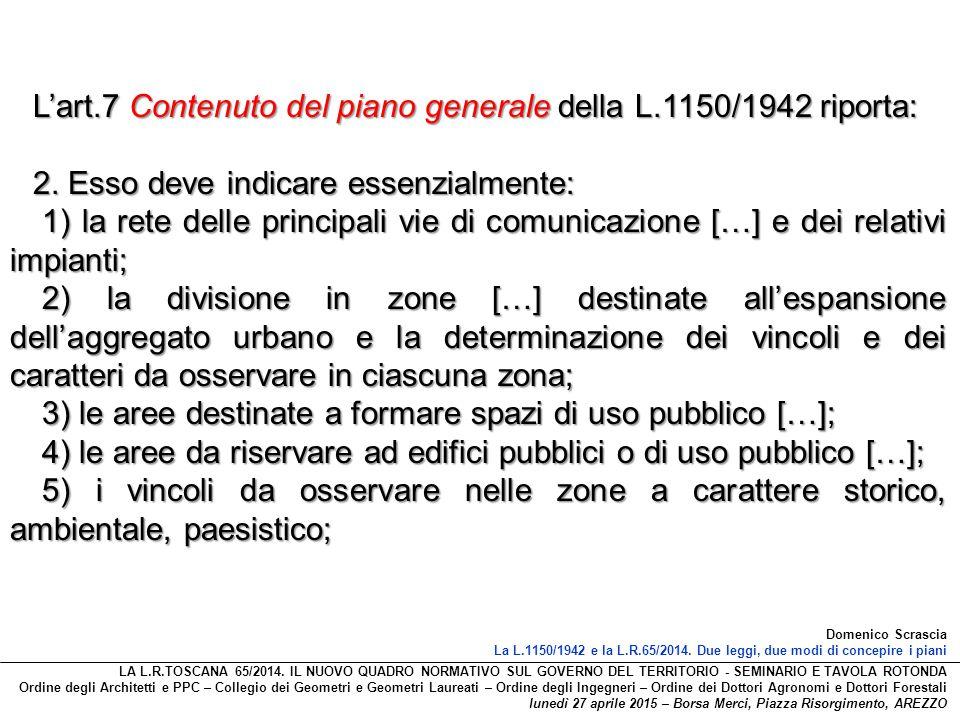 L'art.7 Contenuto del piano generale della L.1150/1942 riporta: 2. Esso deve indicare essenzialmente: 1) la rete delle principali vie di comunicazione