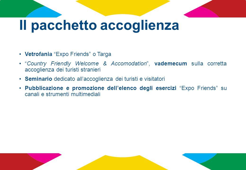 """Il pacchetto accoglienza Vetrofania """"Expo Friends"""" o Targa """"Country Friendly Welcome & Accomodation"""", vademecum sulla corretta accoglienza dei turisti"""