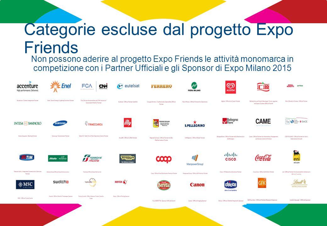 Categorie escluse dal progetto Expo Friends Non possono aderire al progetto Expo Friends le attività monomarca in competizione con i Partner Ufficiali