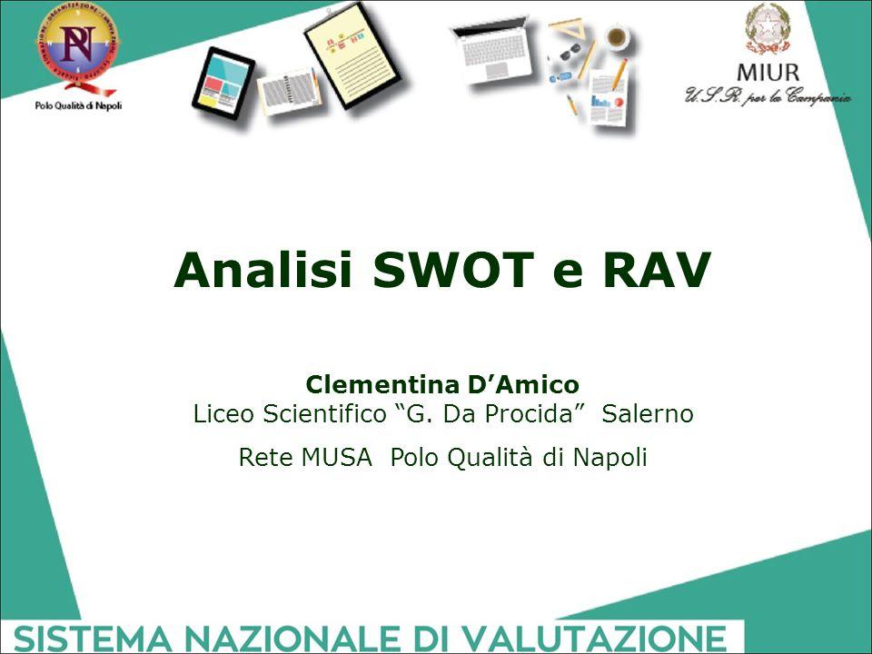 """Analisi SWOT e RAV Clementina D'Amico Liceo Scientifico """"G. Da Procida"""" Salerno Rete MUSA Polo Qualità di Napoli"""