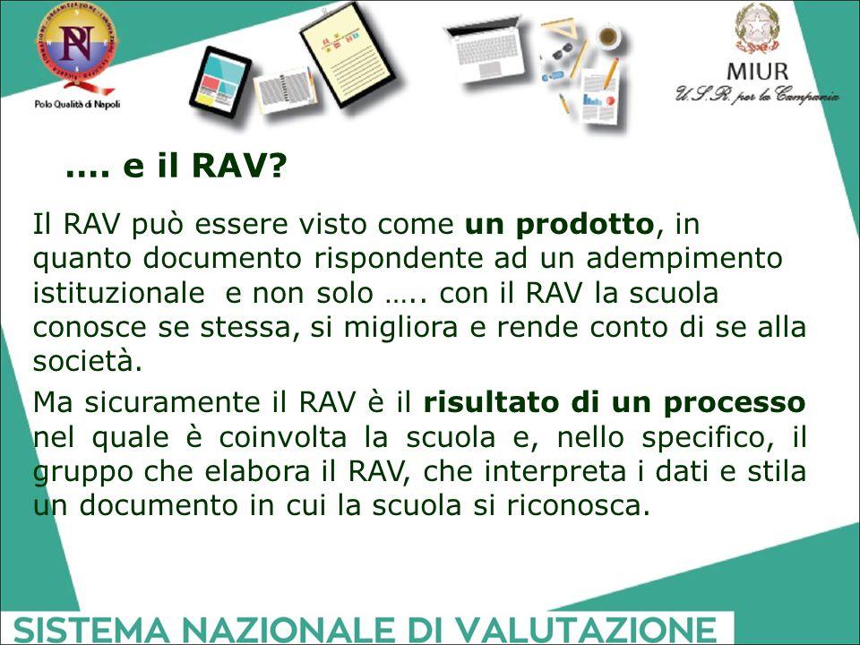 …. e il RAV? Il RAV può essere visto come un prodotto, in quanto documento rispondente ad un adempimento istituzionale e non solo ….. con il RAV la sc