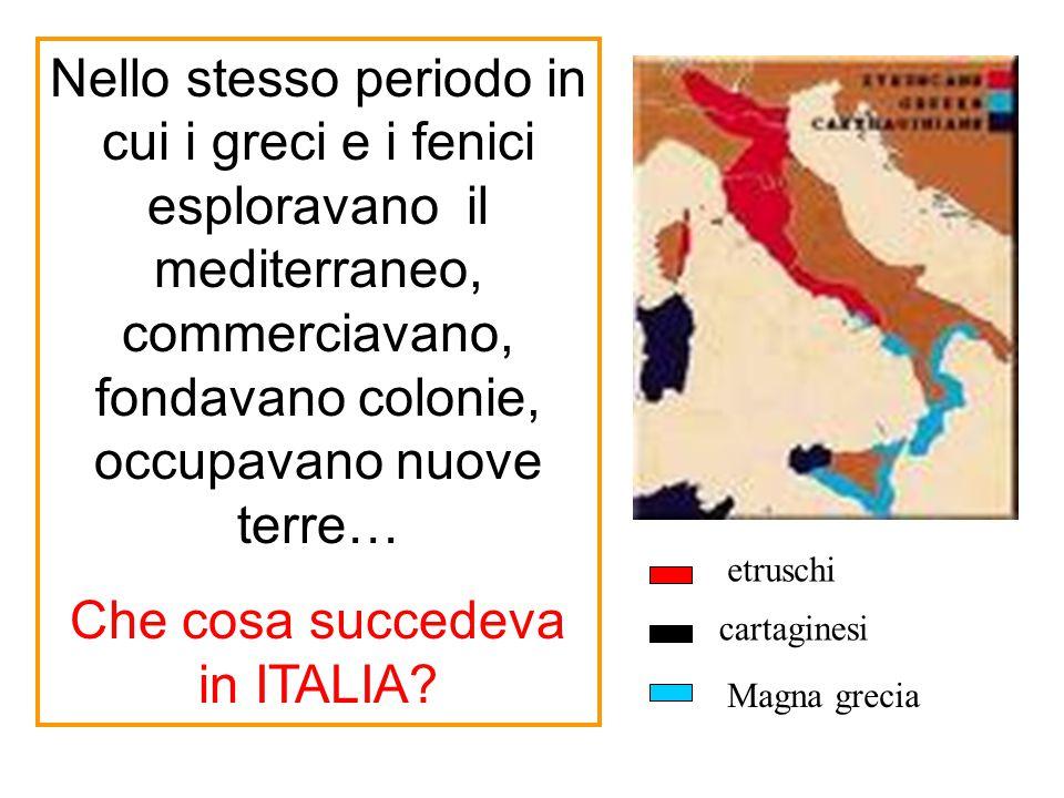 Nello stesso periodo in cui i greci e i fenici esploravano il mediterraneo, commerciavano, fondavano colonie, occupavano nuove terre… Che cosa succede