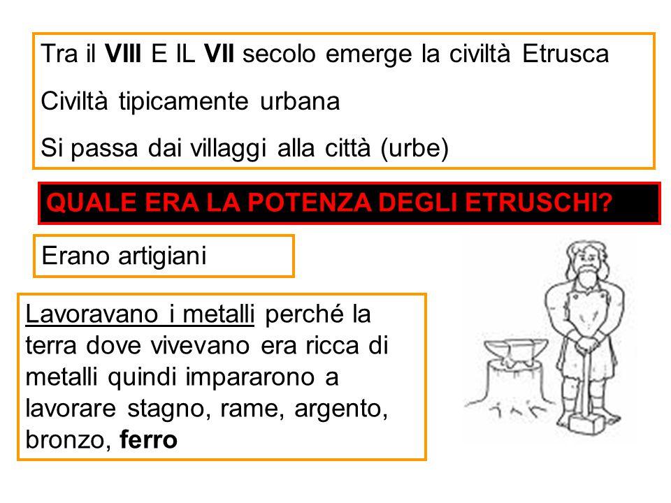 Tra il VIII E IL VII secolo emerge la civiltà Etrusca Civiltà tipicamente urbana Si passa dai villaggi alla città (urbe) Lavoravano i metalli perché l