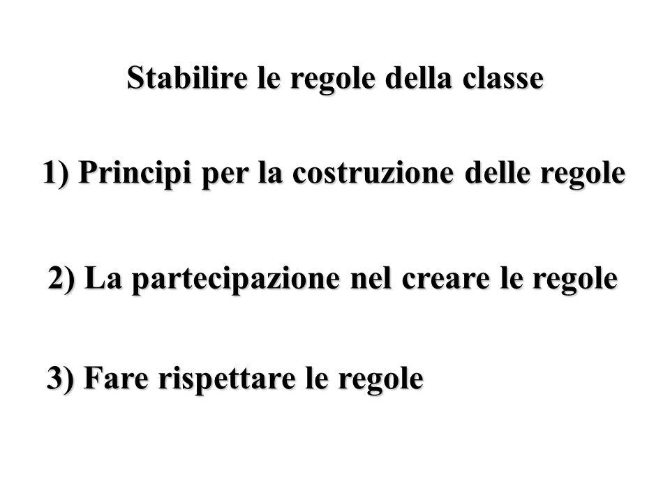 Stabilire le regole della classe 1) Principi per la costruzione delle regole 2) La partecipazione nel creare le regole 3) Fare rispettare le regole