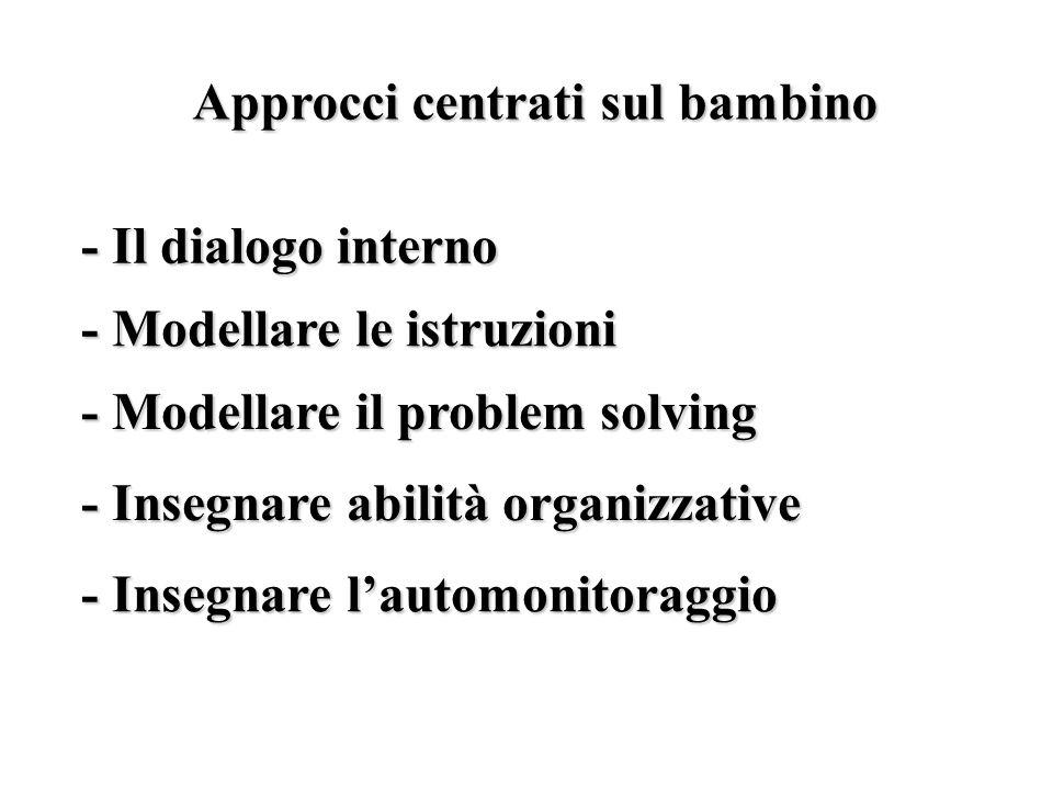 Approcci centrati sul bambino - Il dialogo interno - Modellare le istruzioni - Modellare il problem solving - Insegnare abilità organizzative - Insegnare l'automonitoraggio