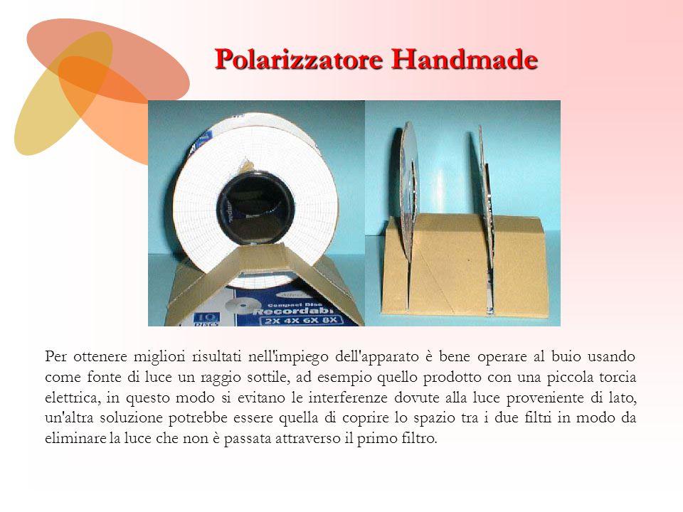 Polarizzatore Handmade Per ottenere migliori risultati nell'impiego dell'apparato è bene operare al buio usando come fonte di luce un raggio sottile,