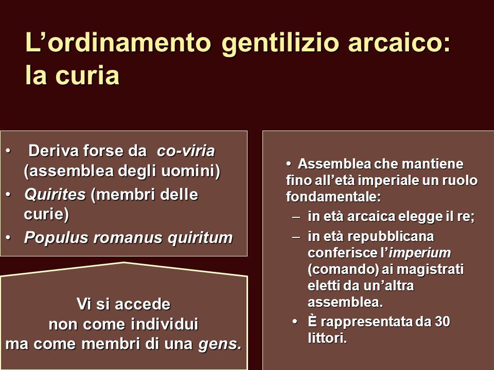L'ordinamento gentilizio arcaico: la curia Deriva forse da co-viria (assemblea degli uomini) Deriva forse da co-viria (assemblea degli uomini) Quirite