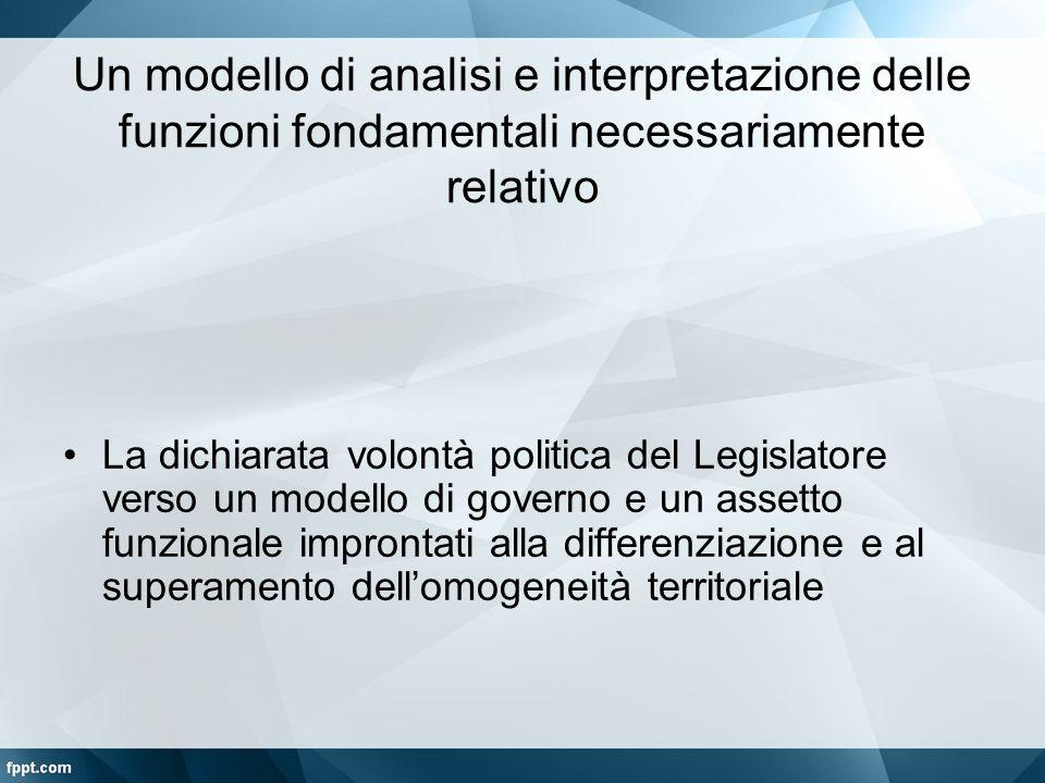 Un modello di analisi e interpretazione delle funzioni fondamentali necessariamente relativo La dichiarata volontà politica del Legislatore verso un m