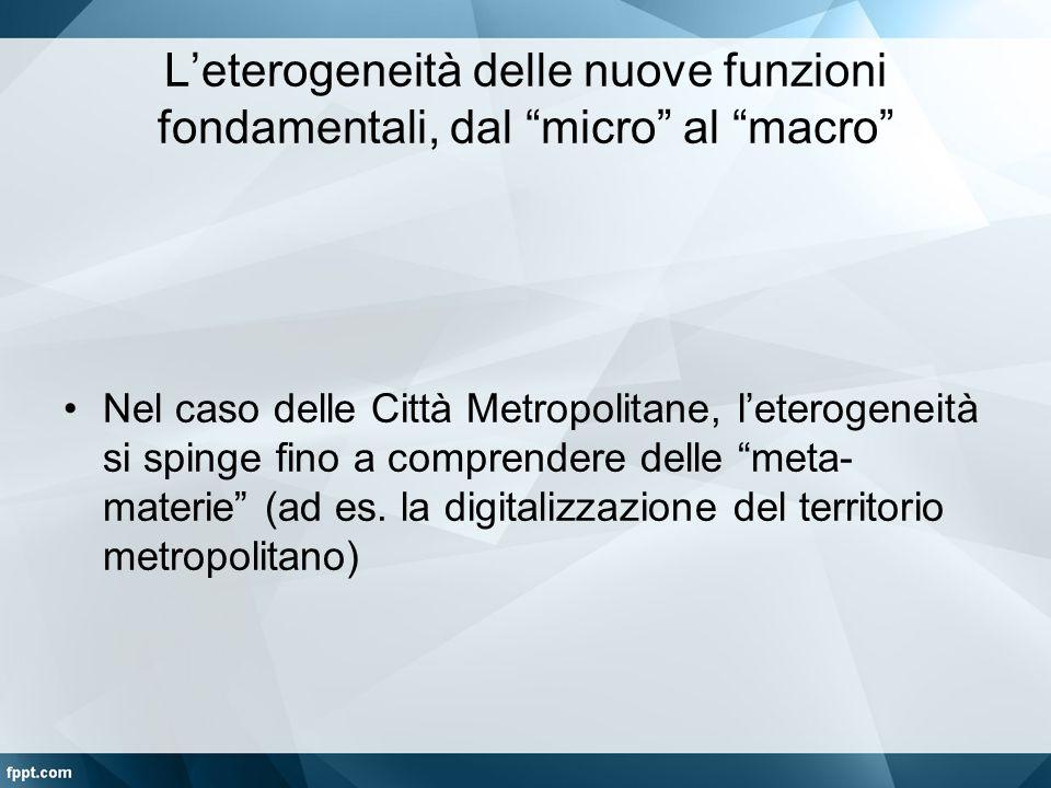 """L'eterogeneità delle nuove funzioni fondamentali, dal """"micro"""" al """"macro"""" Nel caso delle Città Metropolitane, l'eterogeneità si spinge fino a comprende"""