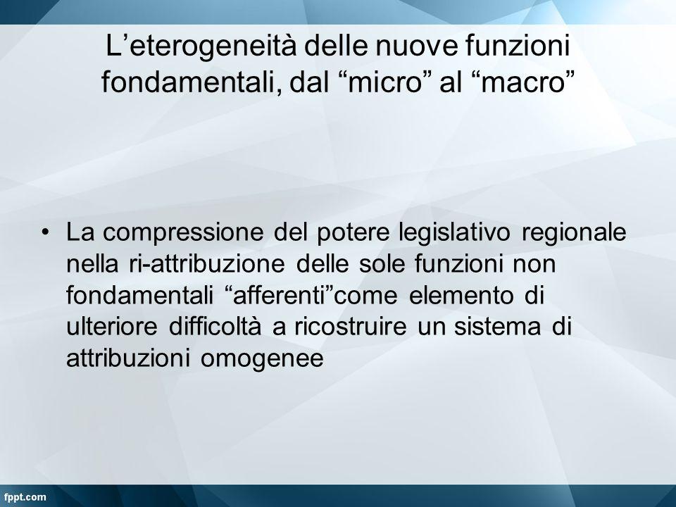 """L'eterogeneità delle nuove funzioni fondamentali, dal """"micro"""" al """"macro"""" La compressione del potere legislativo regionale nella ri-attribuzione delle"""
