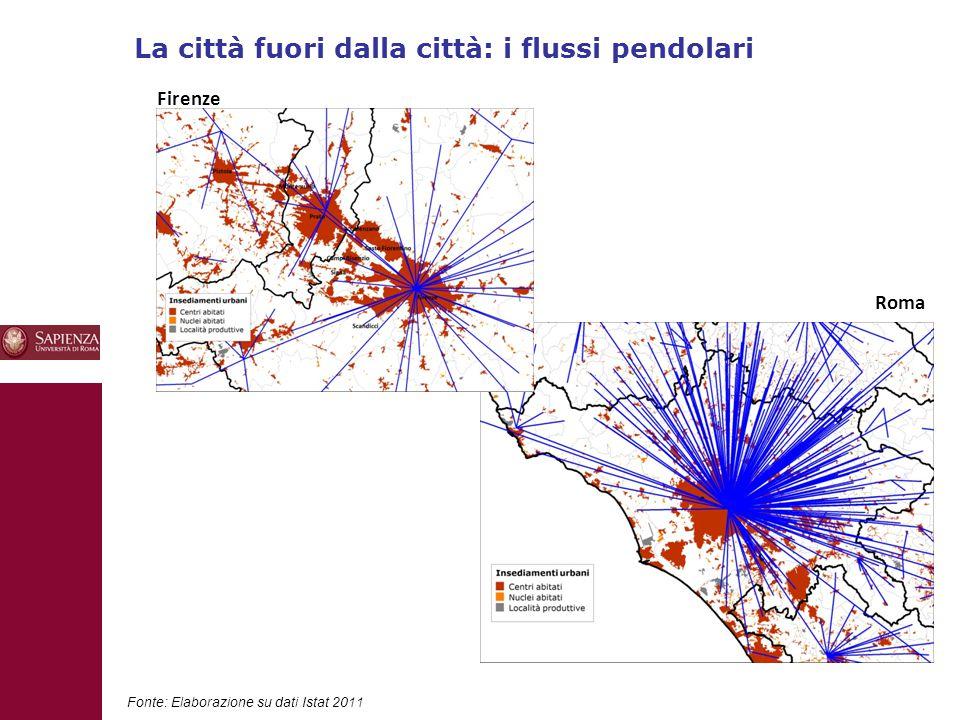 La città fuori dalla città: i flussi pendolari 10 Fonte: Elaborazione su dati Istat 2011 Firenze Roma