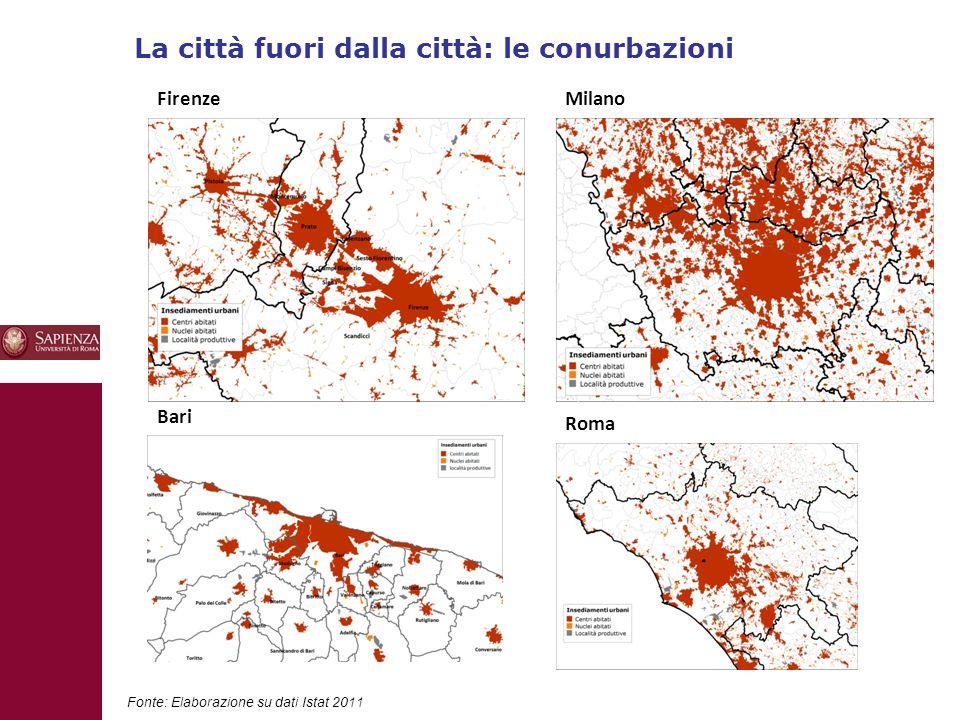 La città fuori dalla città: le conurbazioni 10 Fonte: Elaborazione su dati Istat 2011 FirenzeMilano Bari Roma