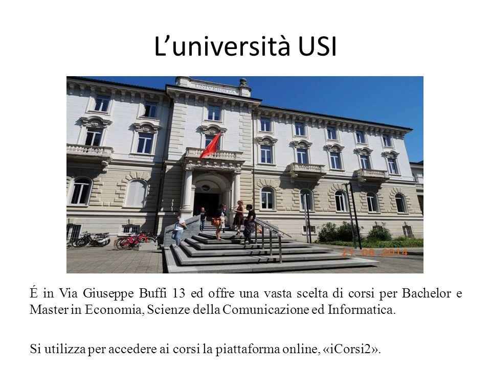 L'università USI É in Via Giuseppe Buffi 13 ed offre una vasta scelta di corsi per Bachelor e Master in Economia, Scienze della Comunicazione ed Informatica.