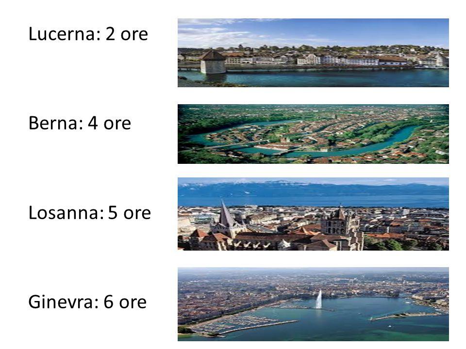Lucerna: 2 ore Berna: 4 ore Losanna: 5 ore Ginevra: 6 ore